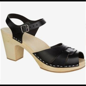 Swedish Hasbeens Toffel Peep Toe Super High Clogs